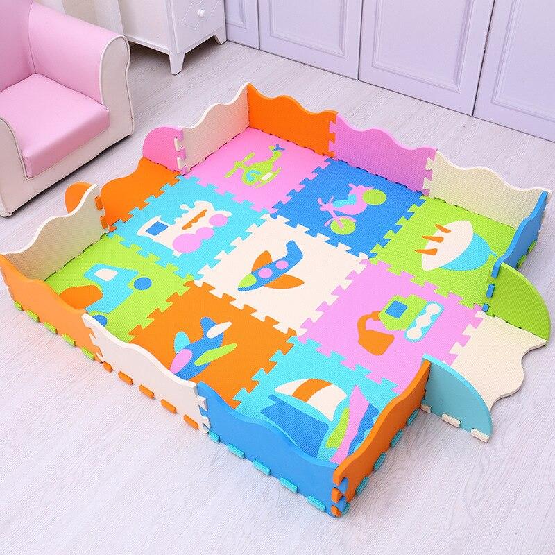 Mei qi cool motif croisé bébé tapis d'escalade EVA mousse tapis de sol antidérapant dessin animé Animal Puzzle tapis clôture-