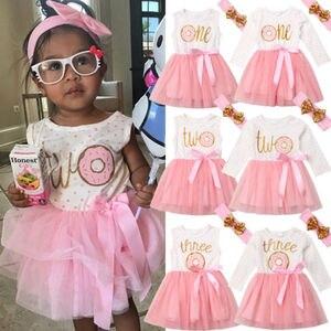 1st 2nd 3rd Third Birthday Donut Polka Dot Dress Girls Toddler Outfits Tutu Dresses Princess Party Dress(China)