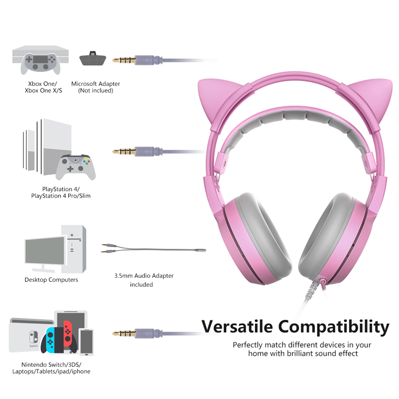 Image 2 - SOMIC G951S Pink Cat Headphones Noise Cancelling Wired Gaming 