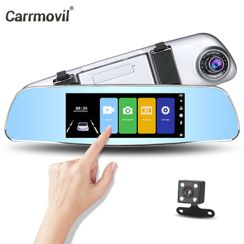 Carrmovil 7inch Full HD IPS Touch Screen Car Rearview Mirror Camera Car Video Recorder Dual Lens Dash Cam Car DVR Registrator