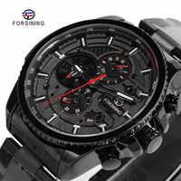 FORSINING Fashion Sport Black Stainless Steel Men Automatic Wrist Watch Top Brand Luxury Military Sport Male Clock