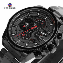 цены FORSINING Fashion Sport Black Stainless Steel Men Automatic Wrist Watch Top Brand Luxury Military Sport Male Clock