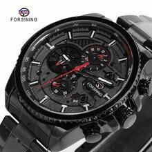 FORSINING Fashion Sport Black Stainless Steel Men Automatic Wrist Watch Top Bran