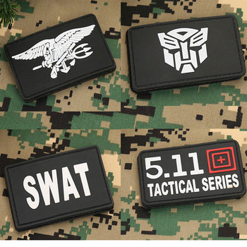 Military Patches 3D Tactical Patch Armband DIY Badges Embroidered Transformers SEAL SWAT PVC Patch Appliques wholesale 50 100 pieces military pvc patches velcro rubber armband 3d tactical badge patches for backpack hat clothes jacket
