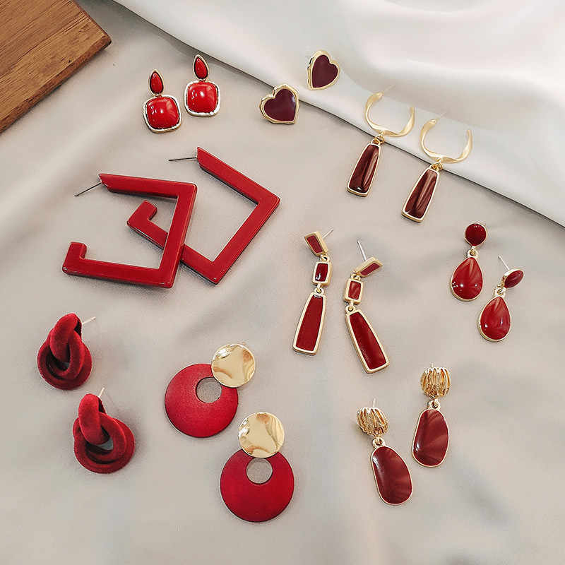 deep red square irregular geometry of circular hollow out women earrings metal enamel earrings with girls The refined jewelry