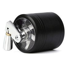 4-layer Zinc Alloy Metal Herb Crusher Grinder with Mill Handle Spices Grinder Tobacco Leaf Crusher Smoke Muller