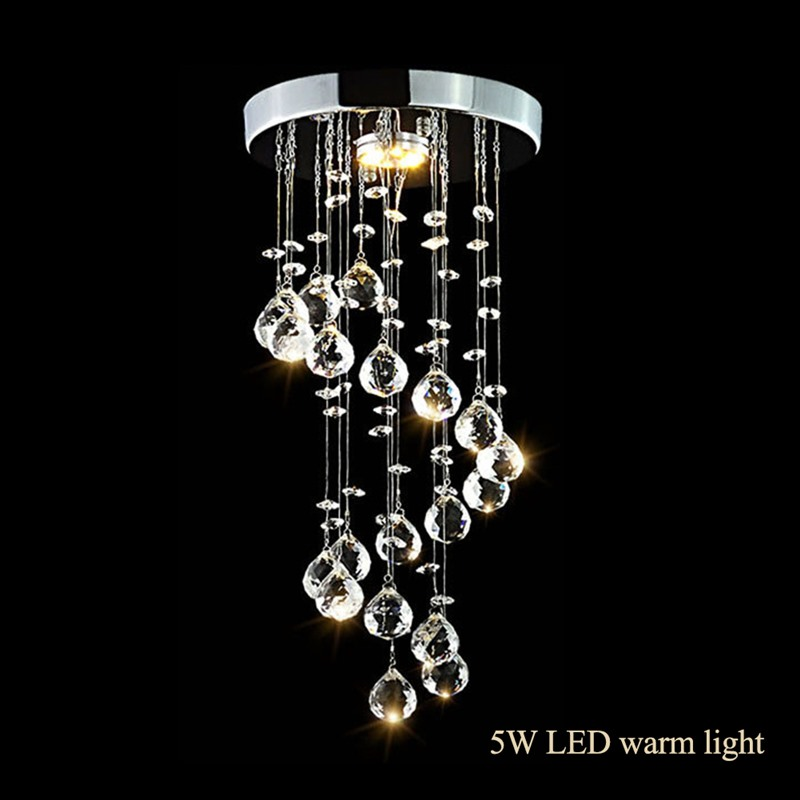 New Chrome Crystal LED Ceiling Lights Pendant Lights Lamparas De Techo Colgante Moderna Modern Glass Crystal Ball Pendant Lights