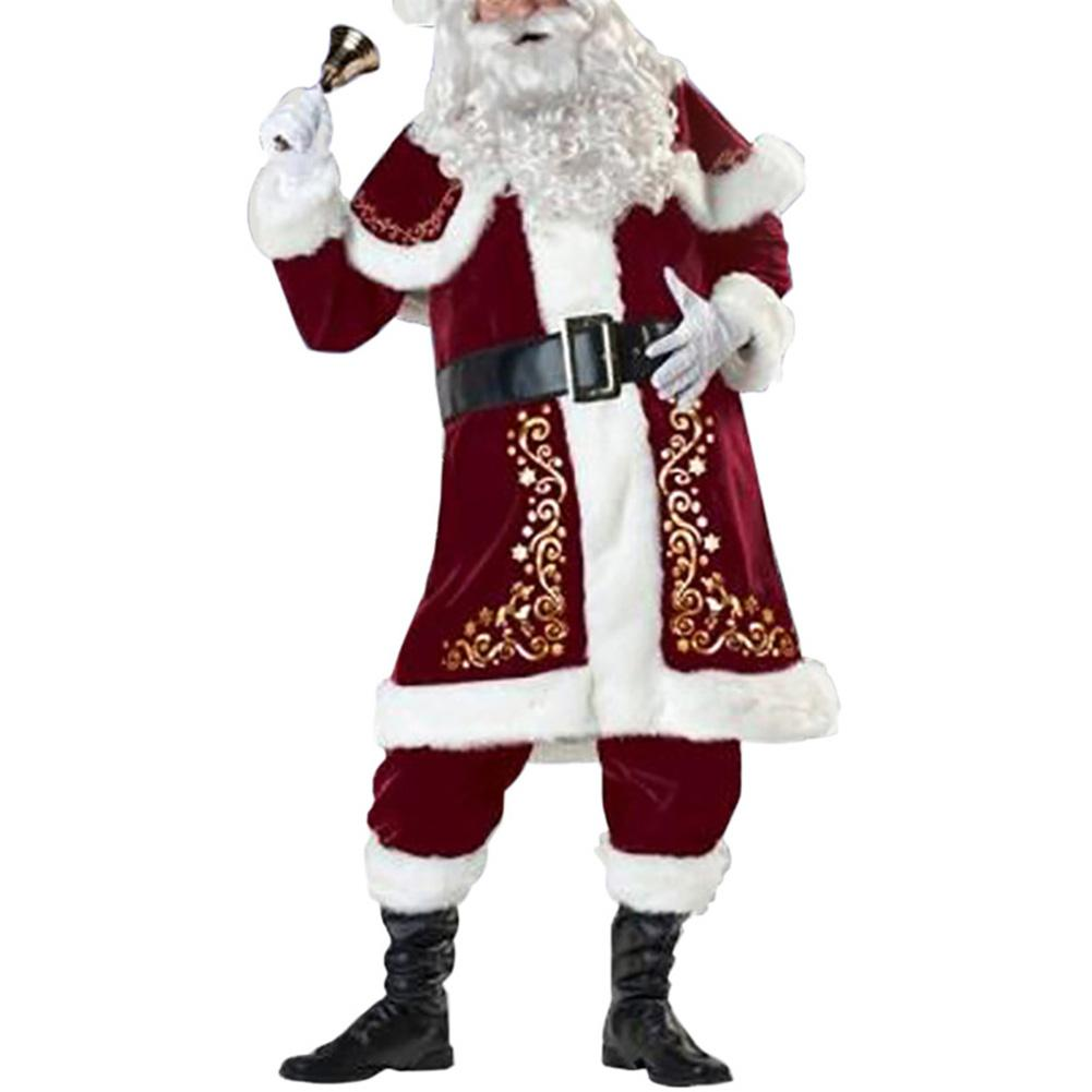 Christmas Men Flannel Hat Coat Pants Outfits Xmas Santa Claus Cosplay Party Costume Men's Christmas Suit For Winter Warmth