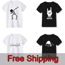 Wygodne letnie chłopięce koszulki nowość z nadrukiem dziecięce koszulki dla chłopców bawełniane z krótkim rękawem dla dziewczynek T Shirt dla dzieci tanie tanio Gourd doll COTTON Na co dzień Cartoon O-neck Topy Tees Pasuje prawda na wymiar weź swój normalny rozmiar Unisex t-shirt boy