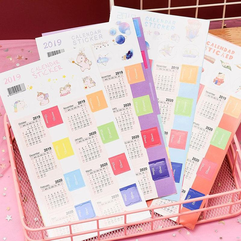 2 Sheets/pack2019 To 2020 Calendar Index Sticker Planner Sticker Calendar Stationery School Monthly Tab Index Notebook Z2R4