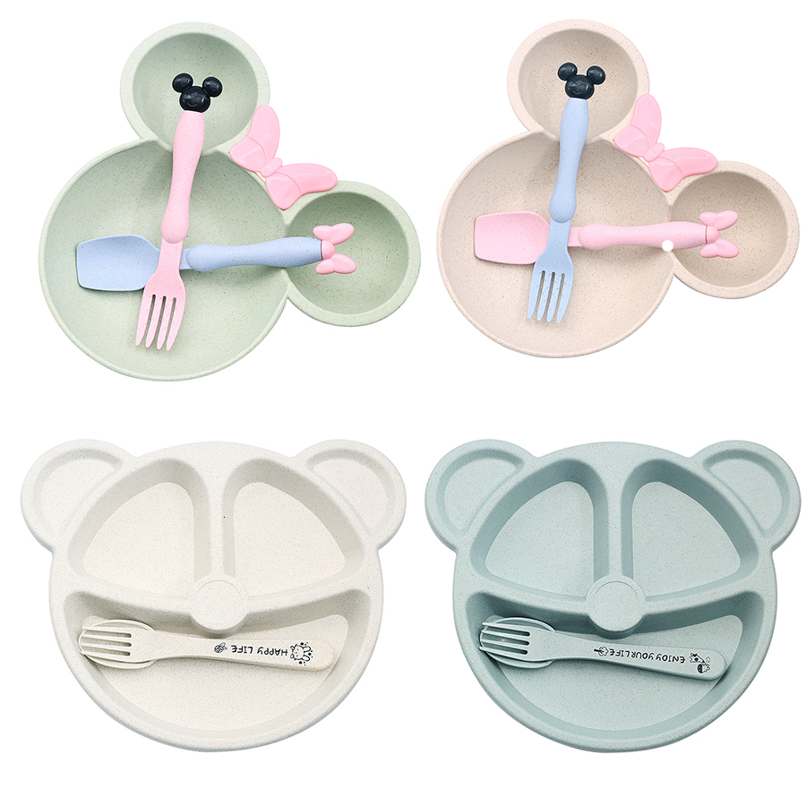 3Pcs Baby Bowl+spoon+fork Feeding Food Tableware Cartoon Kid Dishes Eating Dinnerware Anti-hot Training Dinner Plate EcoFriendly