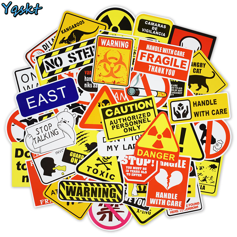 50 Pcs Warning Stickers Danger Banning Signs Reminder Waterproof Decals Sticker For Laptop Motorcycle Travel Case Car Skateboard