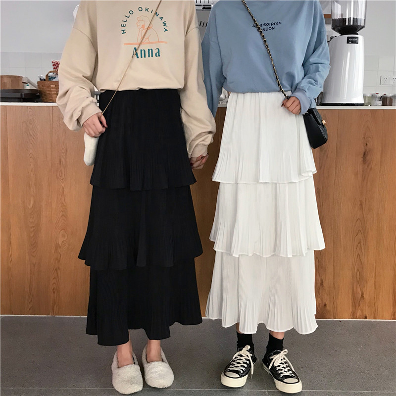 Photo Shoot 2019 Spring Summer New Style WOMEN'S Dress Korean-style Chiffon Pleated Mid-length Cake Skirt