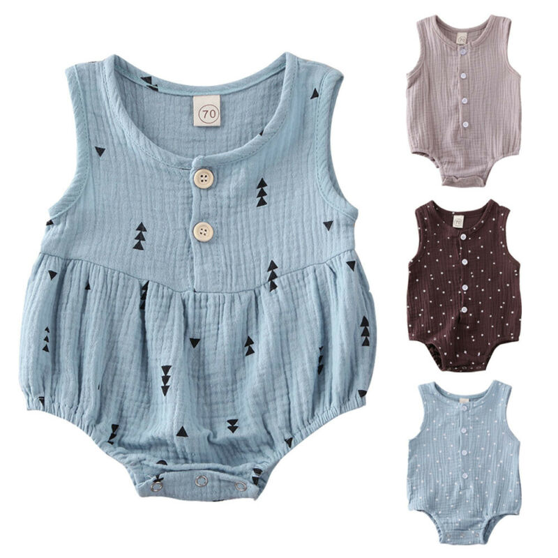 PUDCOCO Cute Newborn Infant Baby Girls Boys Clothes Sleeveless Bodysuit Jumpsuit Playsuit Outfits