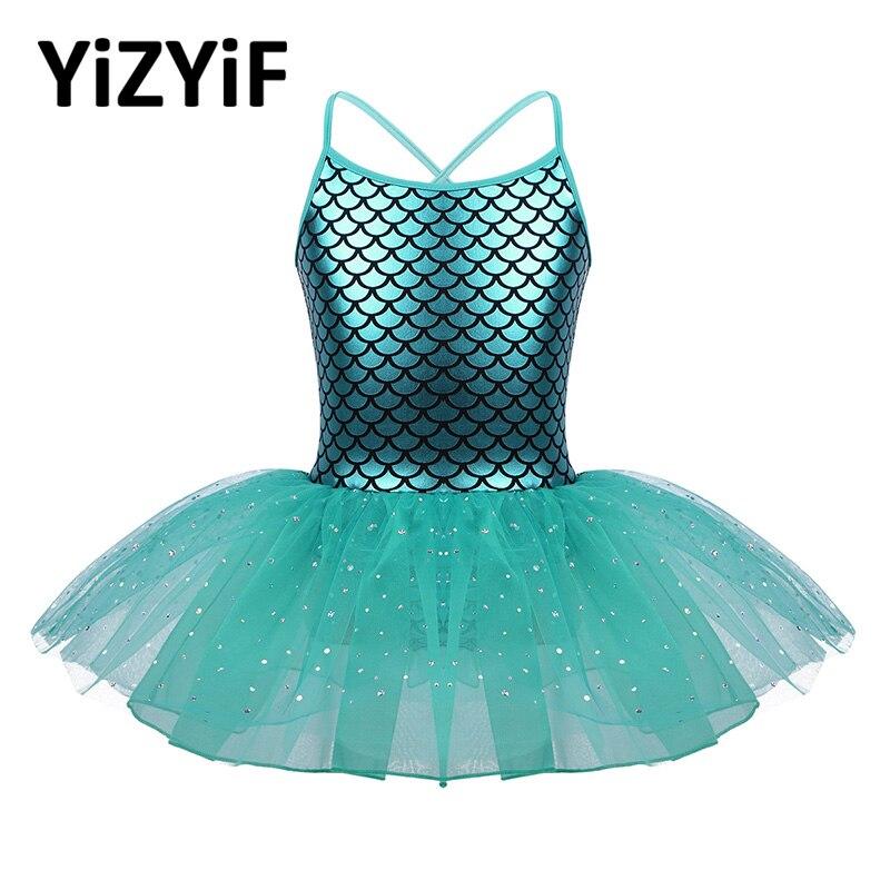 YiZYiF Girls Dress Glitter Ballet Dance Costume Scales Pattern Printed Gymnastics Leotard Ballet Tutu Dress For Girls Dance