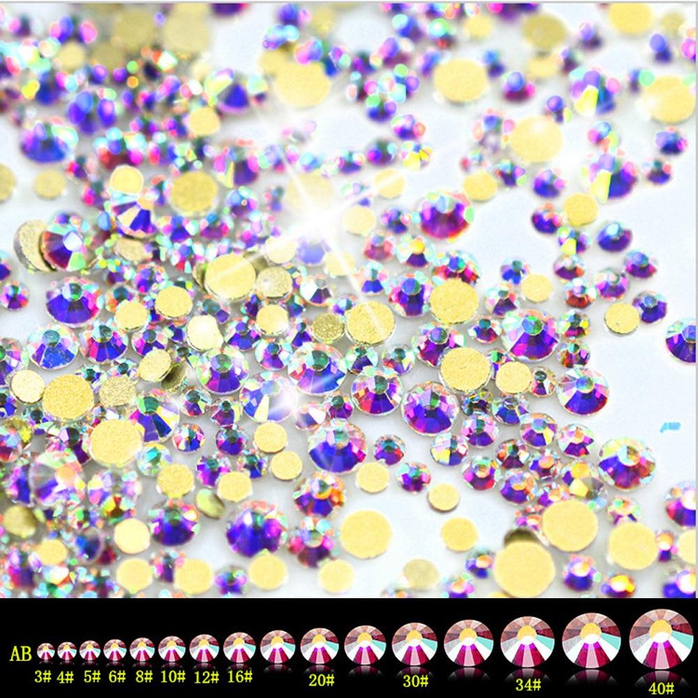 Супер Блестящий Кристалл AB Стразы SS3-SS50 не горячей фиксации FlatBack шитье стразами и ткань одежды дизайн ногтей Стразы Украшения - Цвет: Gold AB