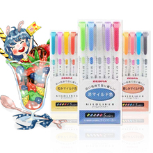 ZEBRA 5Pcs/Set Markers Highlighter Double Head Highlighter Liner Pen Cute Art Markers Japanese Art Stationery Supplies