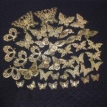45 шт Смешанные бабочки Подвески золотой цвет винтажный браслет
