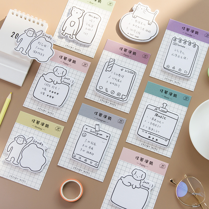 4pcs Doodle Sticky Notes Cute Puppy Bear Cat Social Youtube Ins Adhesive Memo Pad Planner Diary Bookmark Office School A6301
