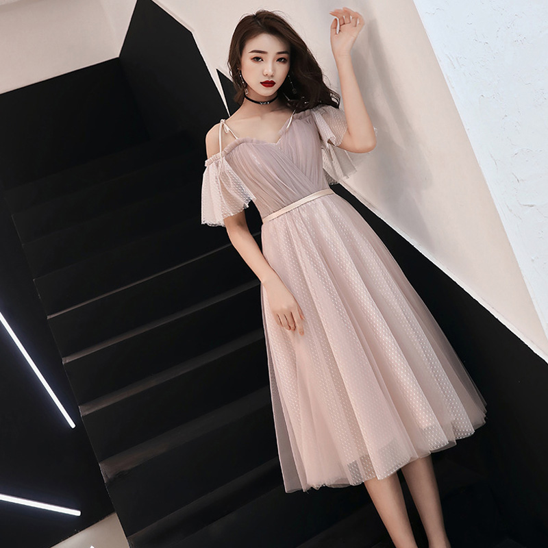 Skyyue Evening Dress R219 Crepe A-Line Formal Party Dresses For Girls Short Sleeve Vestidos De Gala Ruched Tulle Elegant Gowns