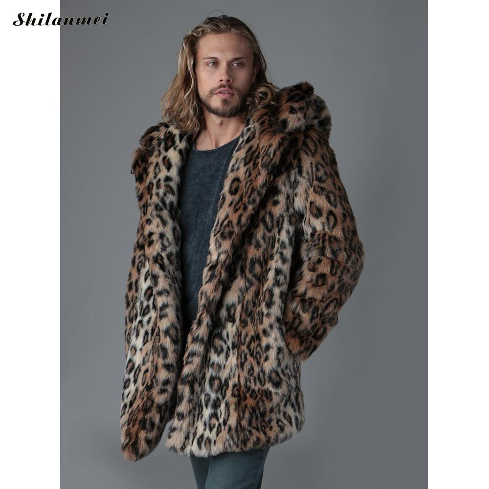 Plus Size Faux Fur Jacket For Men 4xl 2019 Winter Male Leopard Fur Jacket Long Style Hooded Fur Overcoat Warm Men Fur Outerwear