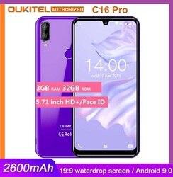 Смартфон OUKITEL C16 PRO, большой экран 5,71 дюйма HD +, 4G, MT6761P четыре ядра, 3 ГБ 32 ГБ, Android 9,0 Pie, мобильный телефон с распознаванием лица
