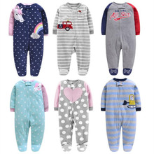 2017 new baby girl clothes , soft fleece kids one pieces Jumpsuits Pajamas 0-24M infant boys costumes bebes
