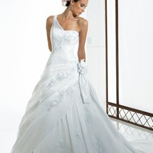 Taffeta lace semi-cathedral A-line one shoulder dropped waist glass bugle seed beads sequins flowers