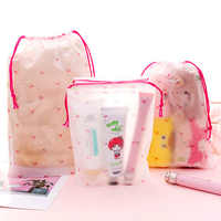 Cute cartoon small cherry storage bag frosted beam pocket travel portable dustproof pouch string bag drawstring bag makeup bag