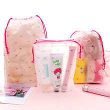 Cute cartoon small cherry storage bag frosted beam pocket travel portable dustproof pouch string bag drawstring bag makeup bag(China)