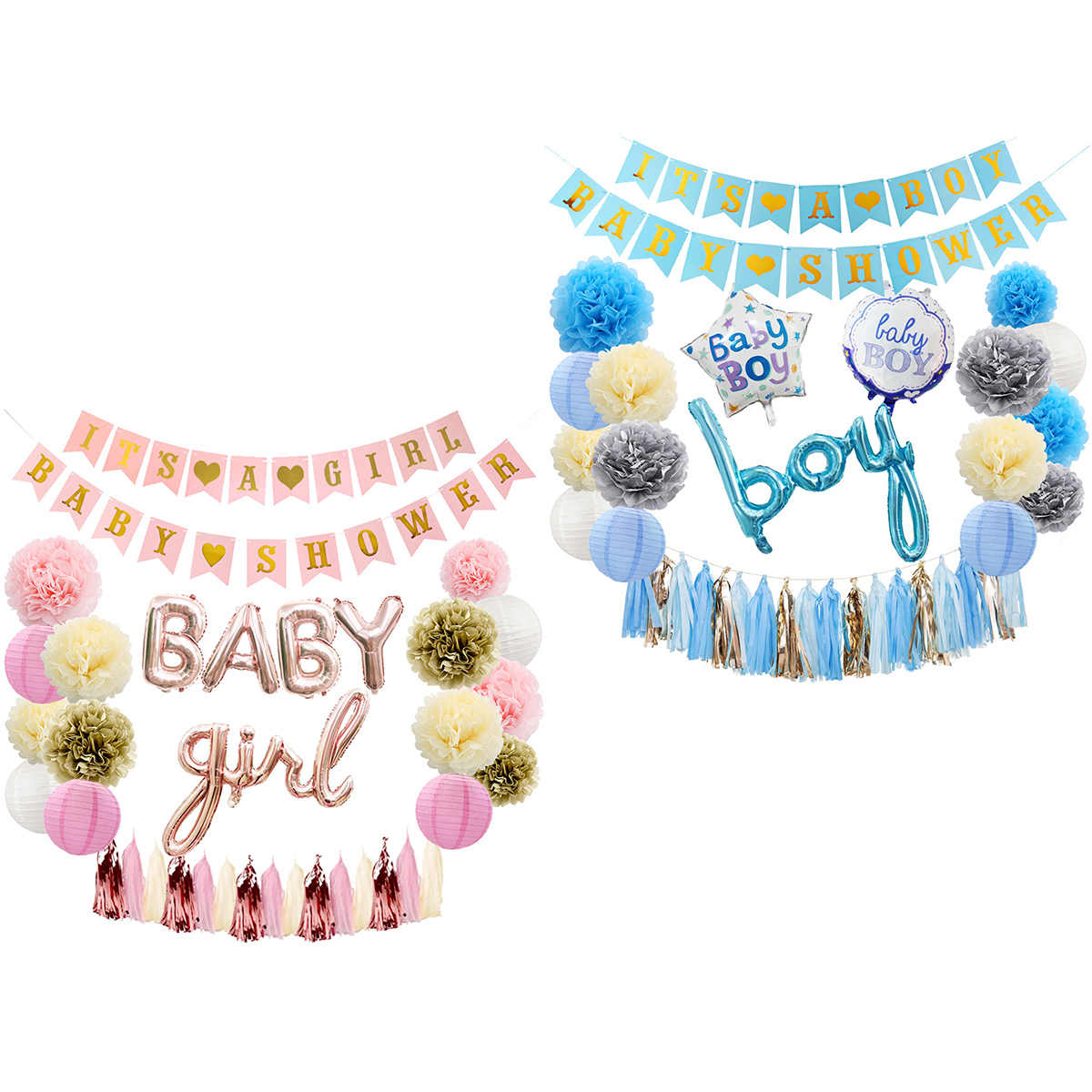 เด็กทารกเด็กสาวชุดตกแต่ง It's Boy It's Girl oh ลูกโป่งเด็กเพศเปิดเผยเด็กวันเกิด Baby Shower ของขวัญ
