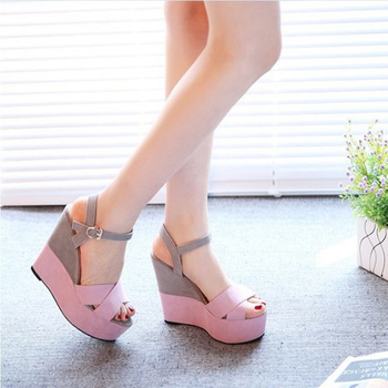 2020 Women Summer Platform Sandals Female Fish Mouth Platform High Heels Wedge Shoes Lady Sexy Buckle Slope Sandals slope with super high heels sexy transparent diamond beaded sequined flowers fish head shoes lace summer sandals and slippers