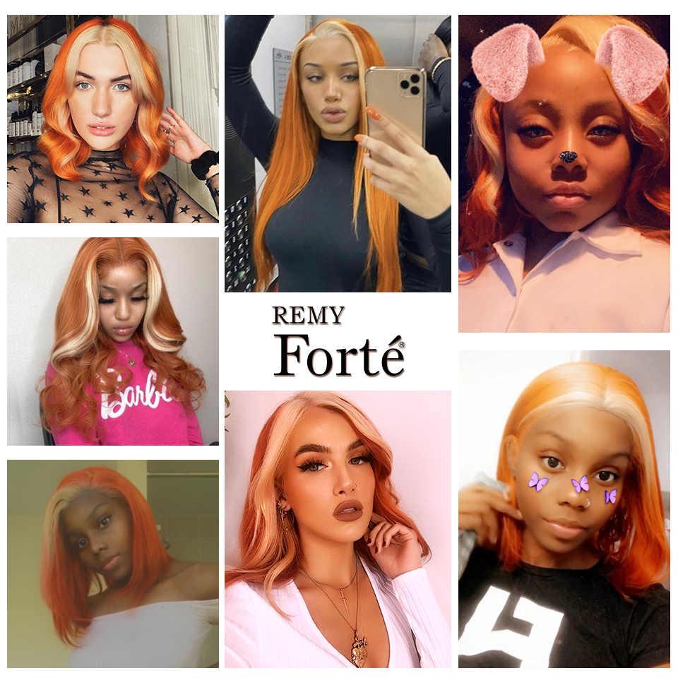 Remy Forte блонд волнистые пряди с закрытием оранжевые бразильские волосы плетение пряди 3 пряди человеческие волосы с закрытием Быстрая доставка США