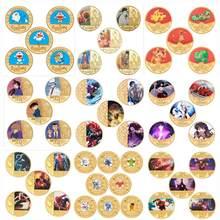 Ponad 100 wzorów Anime zaprojektowany złoty kolorowy platerowany zestaw monet na prezenty kolekcja dla fanów