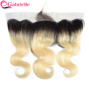 Gabrielle Ombre Hair 613 Frontal Brazilian Body Wave 13x4 Lace Frontal Closure Remy Human Hair Closure Blonde 1B/613 Frontal