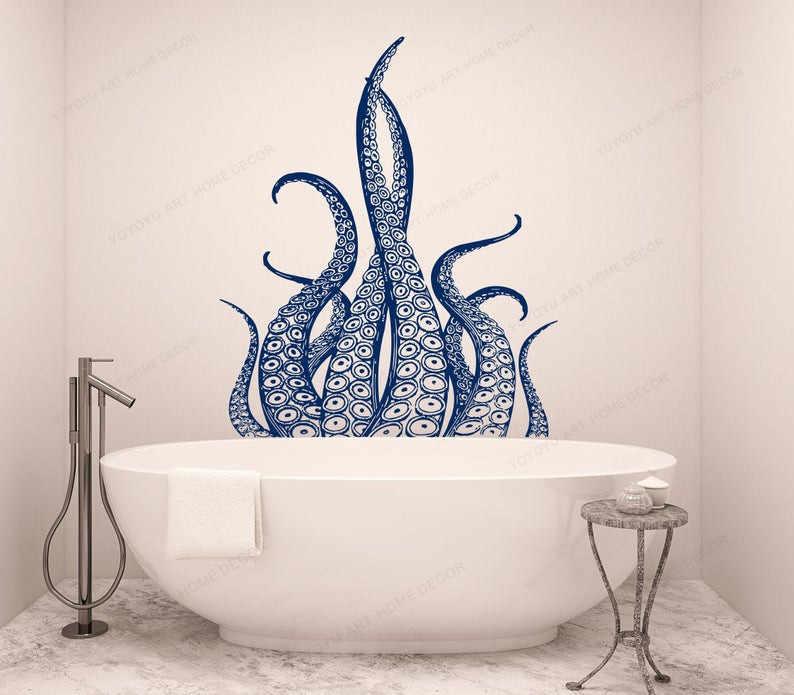 Octopus Tentacles Vinyl Muursticker Vis Diepzee Scuba Dieren Decor Badkamer Muurtattoo Hj1219 Wall Stickers Aliexpress