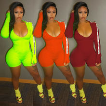 Goocheer Long Sleeve Sexy Women Bandage Jumpsuit Letter Printed Female High Waist Evening Party Deep V Neck Playsuit