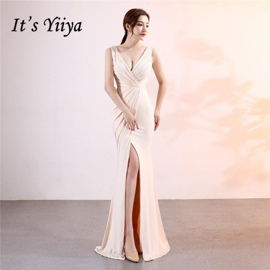 V-Neck Evening Dress It's Yiiya DX379 Pleat Sleeveless Mermaid Special Occasion Dresses Solid Split Plus Size Robe De Soiree