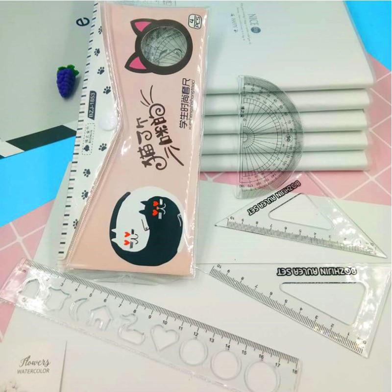 4 Pcs/set Cartoon Cat Ruler Transparent Set Ruler  School Student Kids Tool Multifunction Drawing Plastic Ruler Set