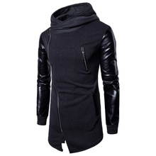 CYSINCOS New Harajuku Mens Casual Hoodie Jackets Pu Leather Patchwork Motorcycle Long Outwear Coat Zipper Irregular Rock Coats