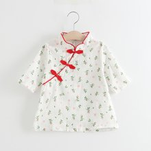 Toddler Baby Girls Dress Chinese Classic Rose Qipao Dress Cheongsam KIDs Cotton Short Sleeve Dresses Party Costume 2018 autumn new arrival girls chinese style cheongsam kids girls long sleeve crane print dresses surplice qipao clothes years