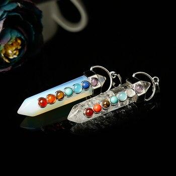 Chakras on Natural Stone Pendant Jewelry Pendants cb5feb1b7314637725a2e7: Amethyst|Clear Quartz|Deep Blue|Gold sandstone|lapis lazuli|Malachite|Obsidian|Opal|Rose Quartz|Tiger eye|Turquoise
