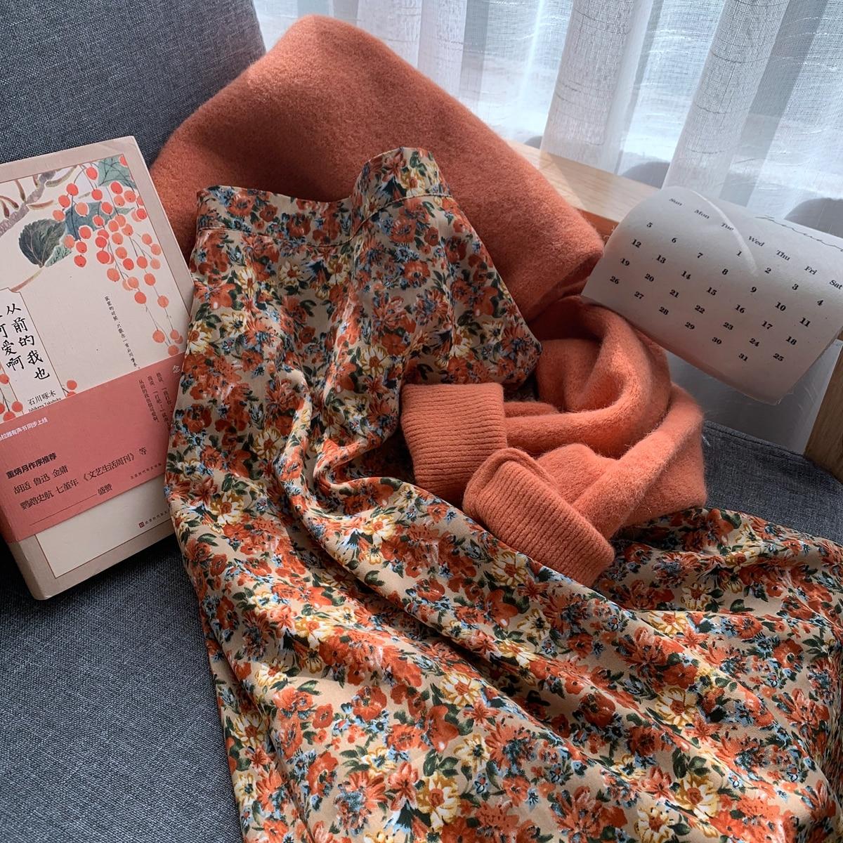 Chiffon A-line Skirt Women Plus Size Floral Print Long Pleated Skirt Mujer Maxi Beach Summer 2020 Vintage Elegant Saia Longa