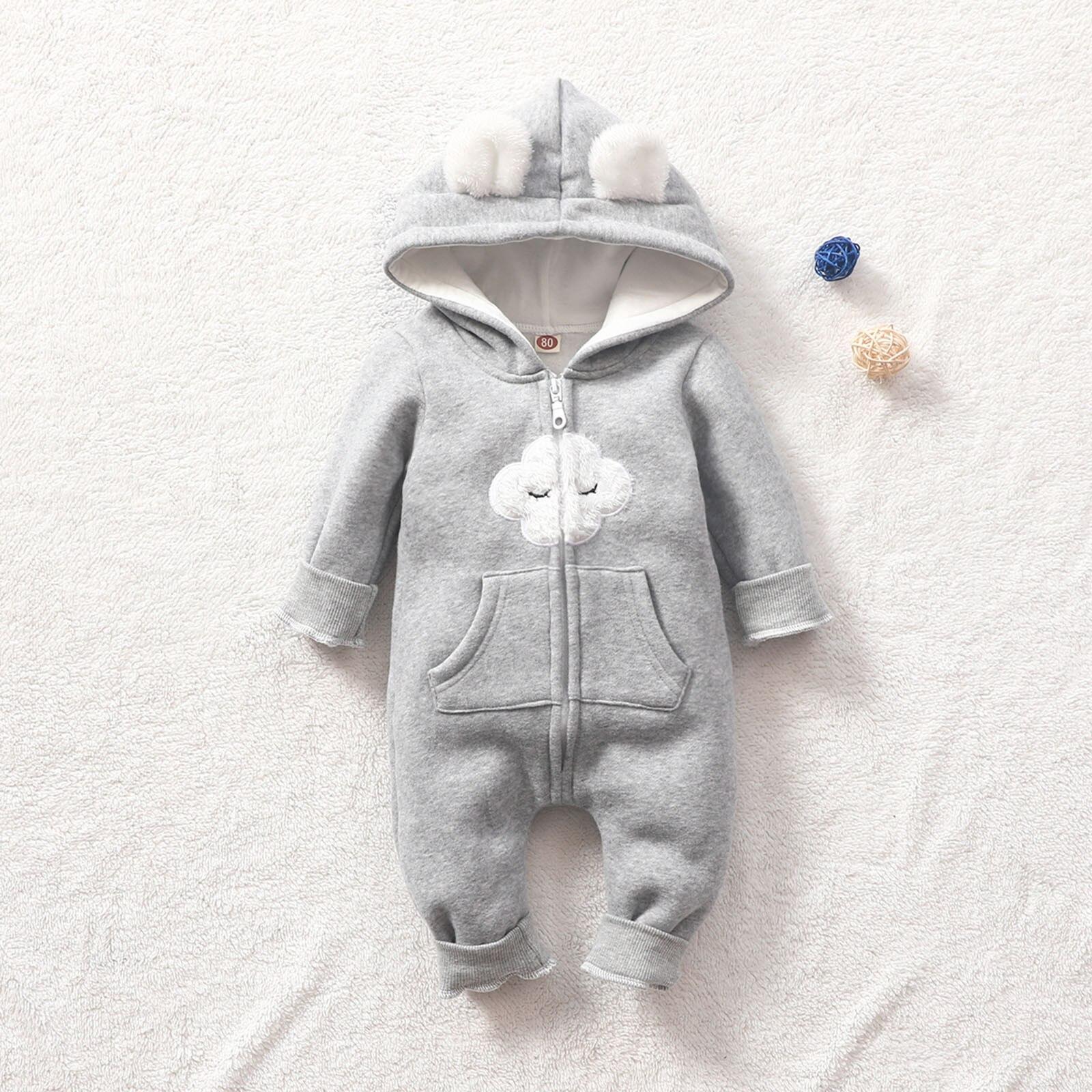Casacos recém-nascidos infantil do bebê para meninas moda quente impressão completa bonito com orelha com capuz grosso macacão roupas