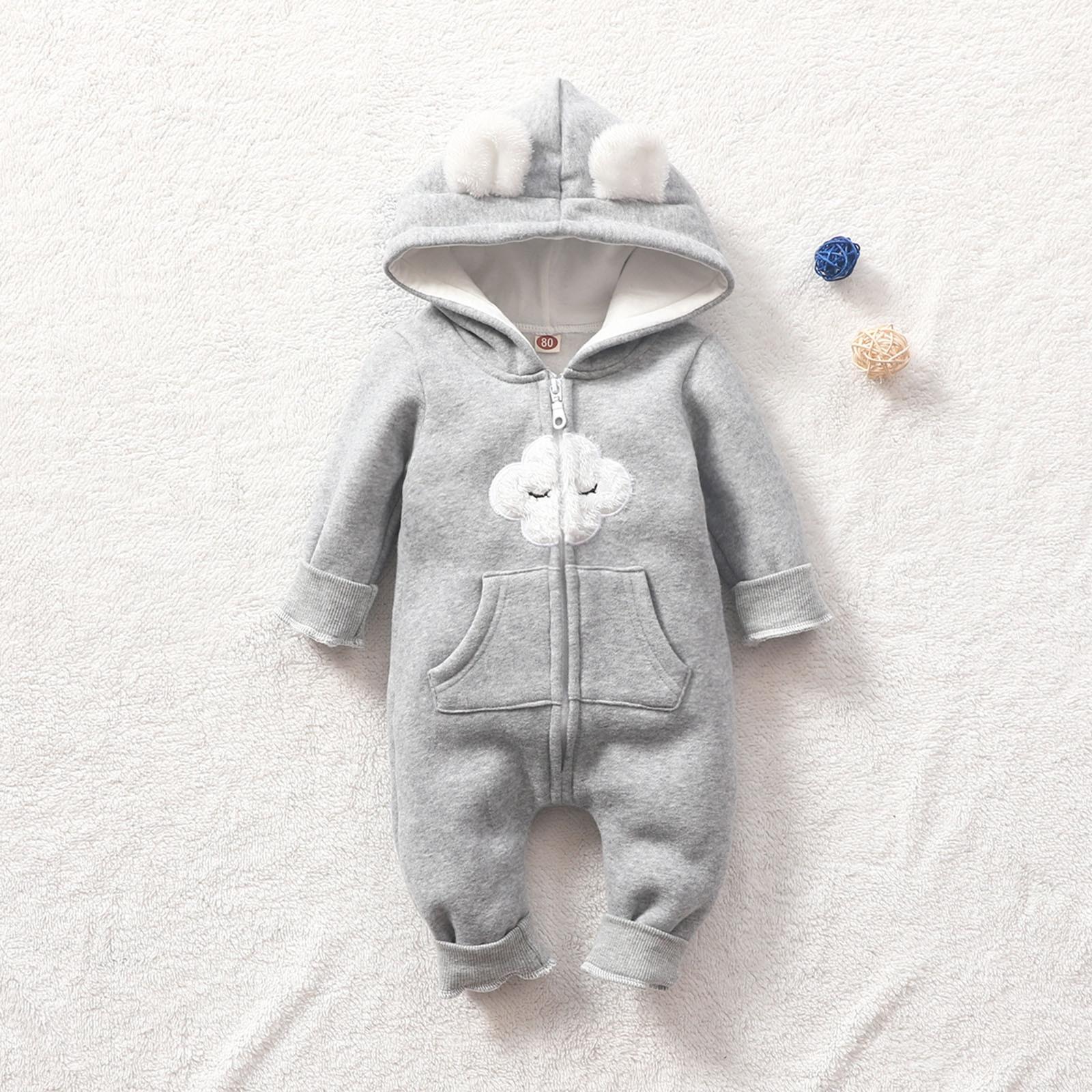 Пальто для новорожденных, теплый Модный комбинезон для новорожденных, с капюшоном и ушками, комбинезон, одежда