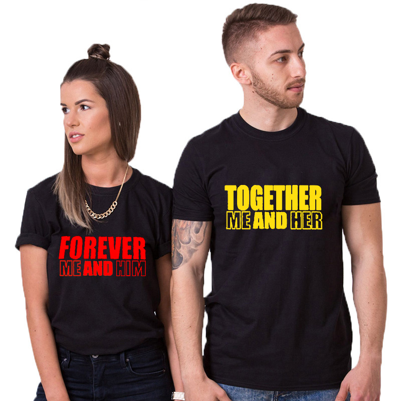 EnjoytheSpirit Together Forever Me And Her Him Couple T Shirt Couples Shirts Leisure Short Sleeve T-shirt Black Fashion Tee