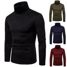 Мужчины% 27 свитера зима осень водолазка длинный рукав однотонный стрейч вязаные пуловеры базовые топы зауженные крой мода мужские свитер