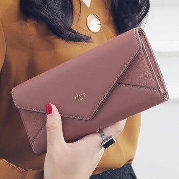 aliwood Brand 3 Fold Women's Wallet Designer Envelope Clutch For Women Hasp Money Clip Leather Female Long Wallet Phone Pocket
