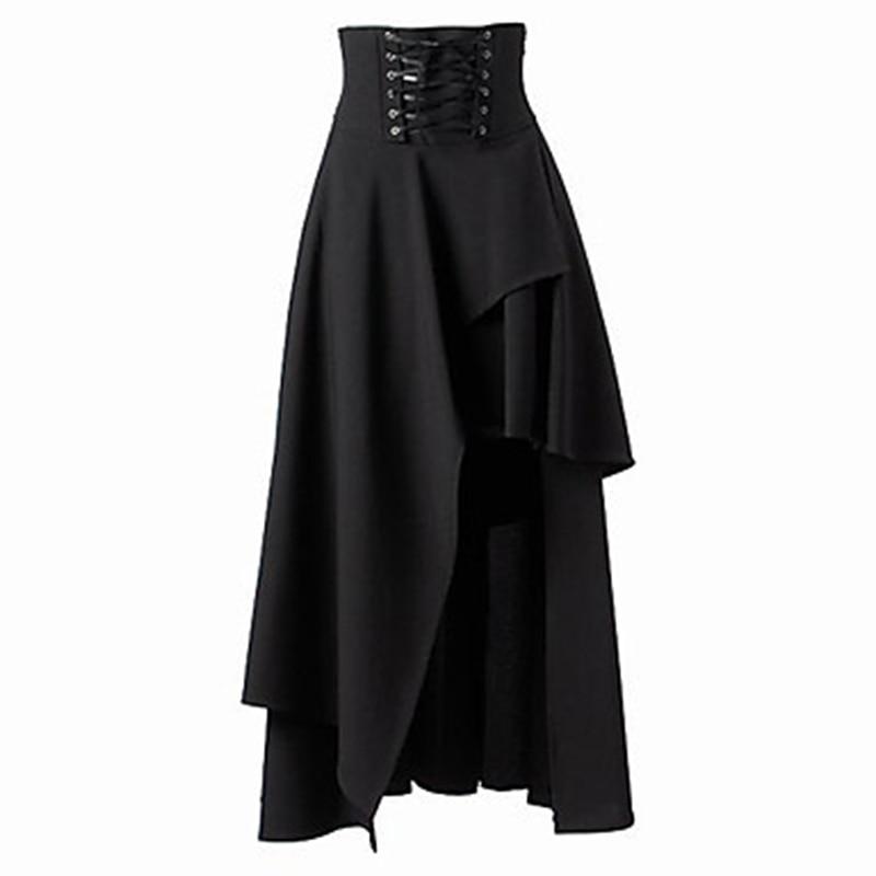 Женская черная юбка со шнуровкой, высокое качество, готический стиль Лолиты, длинная юбка, Новая модная женская нестандартная юбка, Bigsweety