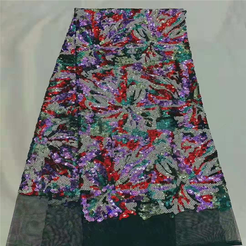 2020 Latest African Lace Fabric High Quality French Net Embroidery Red Green Sequins Tulle Lace Fabric For Nigerian Party Dress